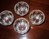4 THUMBPRINT BOWLS CLEAR Heavy Crystal Set Retro Dessert Sherbet Custard Cups Discontinued Set Four Excellent Condition