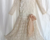 Vintage 1940s dresses, 1920s style cream lace dress, flapper dress, the Great Gatsby, victorian wedding dress, Halloween dress, costume