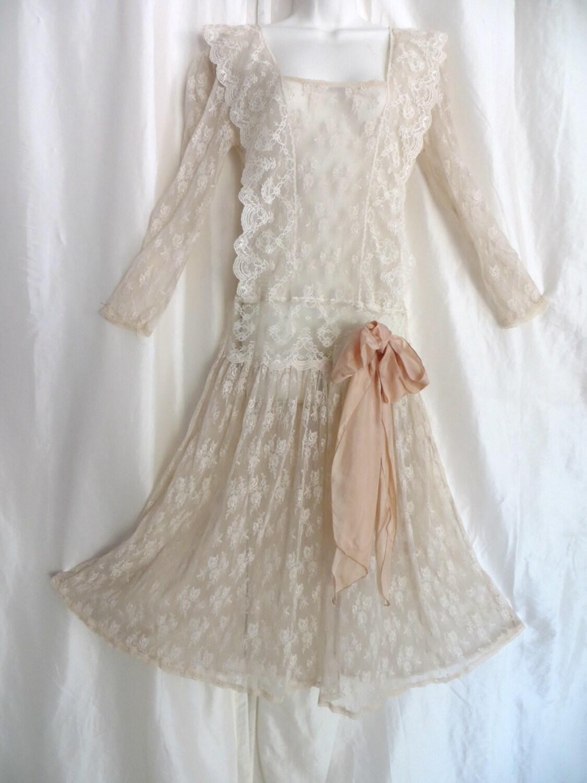 Vintage 1940s dresses 1920s style wedding dress cream lace