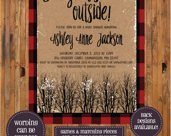 Baby It's Cold Outside Invitation - Winter Baby Shower - Lumberjack Shower - Buffalo Plaid - Buffalo Check - Winter Baby - Woods - Item 0278