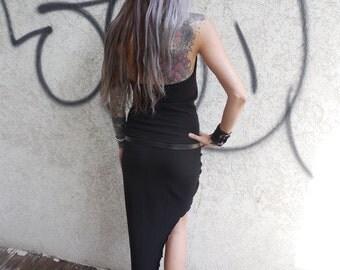 Black Dress, Asymetrical Dress, Burning man Dress, Goth Dress, Punk Dress