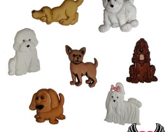 Jesse James Buttons 7 pc PUPPY PARADE Dog Buttons OR Turn them Into Flatback Decoden Cabochons