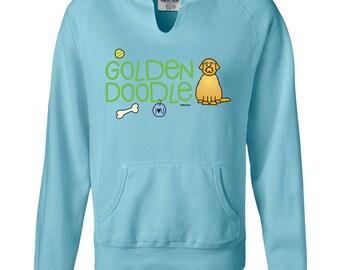 Golden Doodle Ladies Garment Dyed Hoodie Sweatshirt