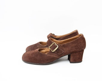 Vintage suede brown women mary jane heels