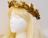Gold Leaf Crown, Greek Roman Goddess, Laurel Wreath, Golden Headpiece Grecian Athena Toga Leaf Hair Greek God Burning Man Costume Headdress
