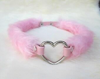 DDLG Collar, Kpop, Pink Fur Pastel Goth Chocker, Teen Choker Heart Choker Necklace Collar Daddy Choker Necklace Fluffy Little Space Kawaii