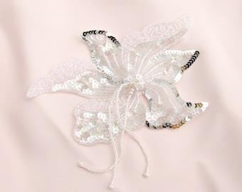 Iridescent Crystal Sequin Applique, Beaded Applique, White Silver Flower (1 Piece) Apparel Wedding Bridal DIY Gatsby Dance