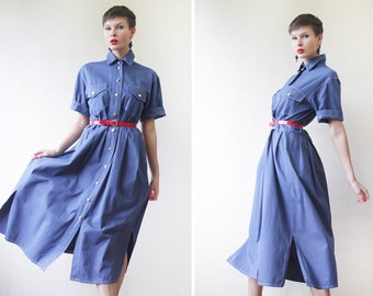 BURBERRY denim blue cotton short sleeve military style midi shirt dress
