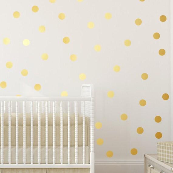 Polka Dot Wall Decal - Gold Vinyl polka dots - Gold polka dots for ...