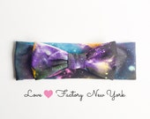Galaxy bow headband for woman Beautiful universal hipster print handmade with love in New York sweet lovely kawaii retro kitsch accessory