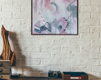 "Fine art print of original abstract acrylic painting ""Pink Rain"""
