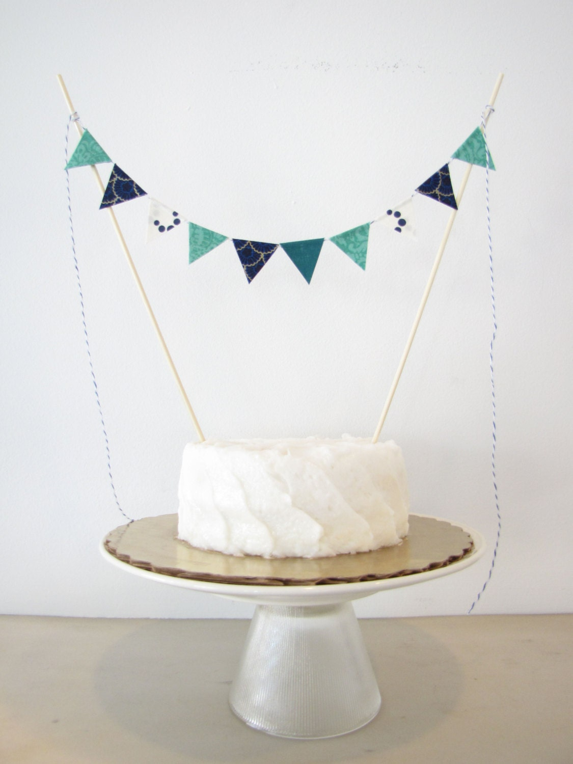 Navy Blue And Teal Cake Topper Fabric Cake Bunting