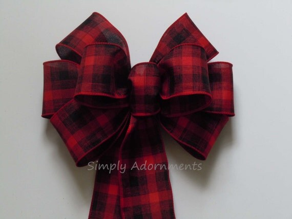 Red Black Plaid Bow Rustic Country Wreath Bow Red Black Tartan Bow Buffalo Plaid Bow Country Wedding Bow Cabin Plaid Wreath door Hanger bow