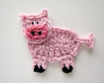 """1pc 4"""" Crochet PIG Applique"""