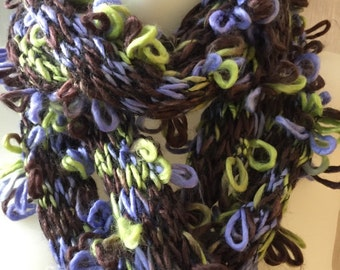 Knit Infinity Scarf Chunky Loose Knit Loops Brown Green Purple Lavender