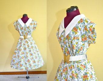 1950s Vintage Plus Size Full Circle Skirt Floral Dress size XL XXL bust 44
