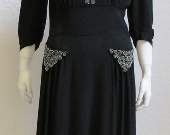 On Sale! 1940's Black Rayon Dress With Blue and Gold Beading Art Deco Design - 30 Inch Waist