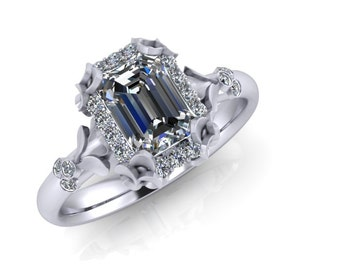 Budding Leaves Emerald Cut Diamond Ring with Halo 14K Gold