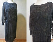 Opulent Bead-Embroidered Early 1920's Art Deco Flapper Dress RARE Larger Size, EX condition