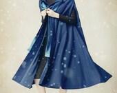 Blue Hooded Cashmere Coat, Bing Swing Wool Coat, Winter Women Coat Jacket, Wool Dress Coat- Loose Style