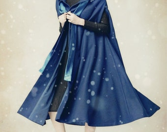 Blue Hooded Cashmere Coat, Bing Swing Wool Coat, Winter Women Coat Jacket, Wool Dress Coat- Loose Style