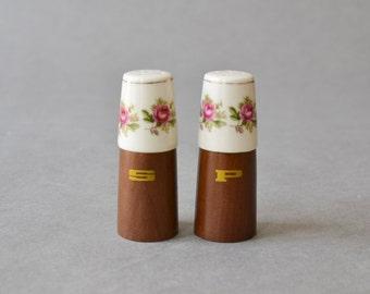 Vintage teak porcelain salt and pepper shakers wooden GDR 1960s MCM Mid-Century Modern