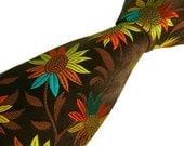 Handmade Tie -  Luxury Woven Silk - Bold Floral Necktie - Made in England - Limited Edition -  'Garden Delight II'