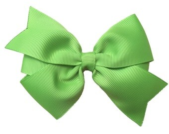 Apple green hair bow - apple green bow, 4 inch hair bow