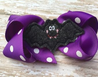 Halloween bow - bat bow, halloween hair bow, bat hair bow, purple bow, polka dot bow, 4 inch bow, girls halloween bows
