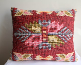 Traditional Turkish Kilim Pillow Cover, Red Pillow and Ivory Case , Wowen Kilim Pillow