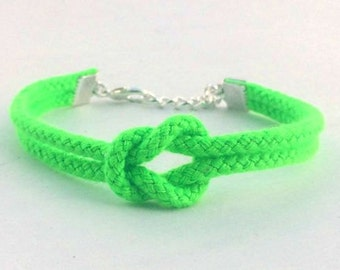 Adjustable Nautical Rope Knot Bracelet Neon Green Tie The Knot Bracelet Polyester