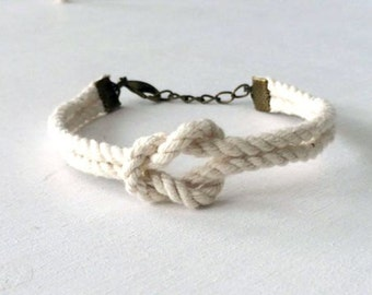 Adjustable Nautical Twisted Rope Knot Bracelet Ivory Tie The Knot Bracelet