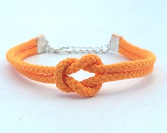 Adjustable Nautical Rope Knot Bracelet Orange Tie The Knot Bracelet