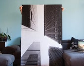 New York Photography, NYC Fine Art Photography Super Large 36x54 Print, Photo Paper Skyscrapers Upside-down, Black and White, geometric