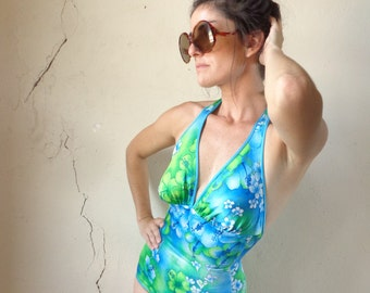 60s reversible swimsuit/ teal floral print/  halter top// small