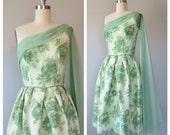 50s poppy print party dress size small / 50s prom dress