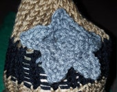 brown, black and silver infant beanie hat