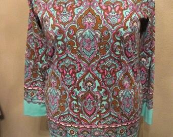 Vintage 1970s Pop Art Blouse Ladies Top Blue Brown Pink Size 15-16 Women's Long Sleeve Hippie Mod Glam Festival