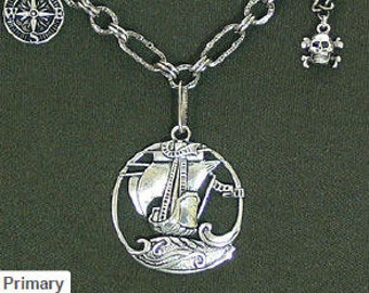 Steampunk'd, Nautical Necklace, Pendant, Ship, Compass, Skull, Pirate, MG-199