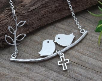 Love Birds Necklace, Family Birds Necklace, Choose Cross, Baby bird or Heart. Birds Necklace, Birds on Branch Necklace . Birds Jewelry.