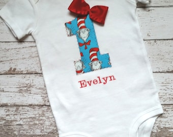 Baby Girl Dr. Seuss first birthday one piece bodysuit, Cat and the Hat, photo prop, Birthday shirt, blue and red, custom Dr. Seuss birthday