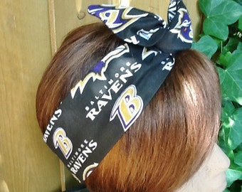 Go Ravens - Baltimore Ravens Wired Dolly Bow Rockabilly Hair Scarf Bandana Wire Headband Ravens Scarf