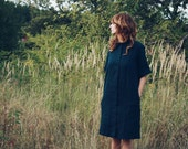 Linen Dress - Navy Blue Linen Dress - Oversize Shirt Dress - Loose - Fitting Dress -  Handmade by OFFON