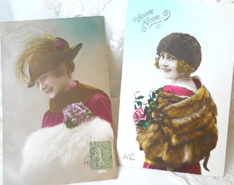 set of 2 happy new year antique French postcards vintage postcards photograph postcard handtinted bonne annee heureuse annee romantic