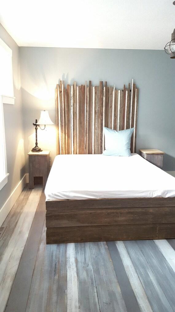 the k americana queen reclaimed barn wood headboard by thelakenest. Black Bedroom Furniture Sets. Home Design Ideas