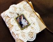 Needle Book, Victorian, Angel, Sewing, Embroidery, Needlework, Cross Stitch, Needle Keeper, Tan Felt , Lace