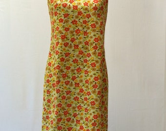 Super Cute Vintage 60s Bright Orange And Yellow Floral Shift Mini Dress XS