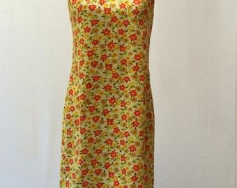 Super Cute Vintage 60s Bright Orange And Yellow Floral Shift Mini Dress XS