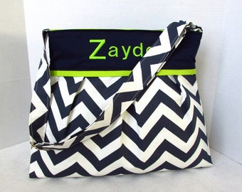 Monogrammed arge Chevron Diaper Bag in Navy Blue and Lime Green or Choose Your Own Boy or Girl