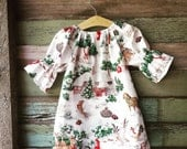 Girls Christmas Dress, Winter Dress, Nightgown, Christmas Toile, coming home outfit, toddler, sizes Newborn to 11/12, rustic